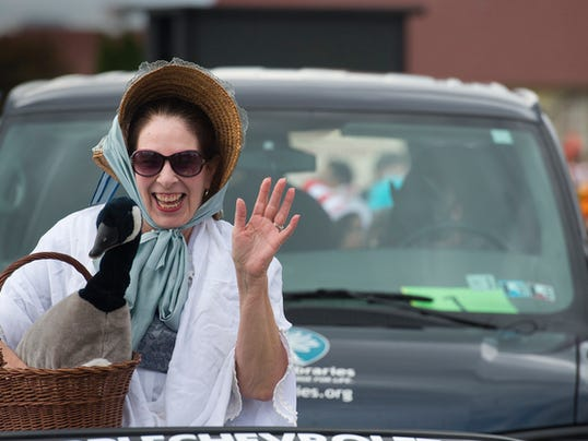 Paula Gilbert, of Martin Library, is the Grand Marshall during the York Halloween Parade Sunday October 25, 2015. Paul Kuehnel - York Daily Record/ Sunday News
