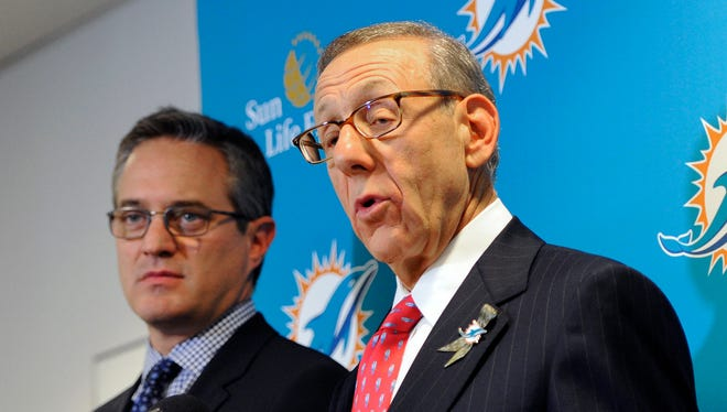 Miami Dolphins owner Stephen Ross, right, and chief executive officer Tom Garfinkel said  the organization would not rush to judgment in the Jonathan Martin-Richie Incognito controversy.