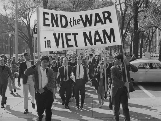 Vietnam war timeline us involvement over decades college students march against the war in boston october sciox Image collections