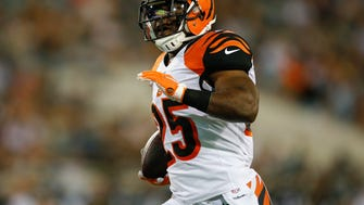 Cincinnati Bengals running back Giovani Bernard (25) runs into the end zone for a touchdown catch in the first quarter during the NFL preseason football game between the Cincinnati Bengals and Jacksonville Jaguars, Sunday, Aug. 28, 2016, at EverBank Field in Jacksonville, Florida.
