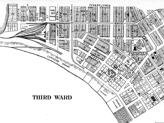 "The industrial district, where many of the brothels were moved starting in the latter 19th century made up a good deal of the Third Ward by the river in Evansville. The map came from ""An Illustrated Plat Book of Vanderburgh and Warrick Counties, Indiana"" — Tillman & Fuller Publishing Co., Evansville, Indiana, 1899."