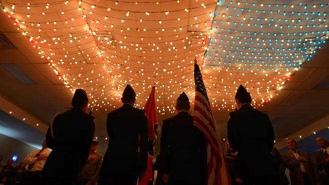 """The North Side High School JROTC presents the colors at the STAR Center's """"God Bless America Again"""" event Thursday night."""