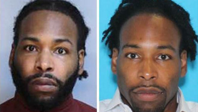This undated combination photo of images provided by the Montgomery County District Attorney's Office shows Jonathan Wesley Harris. Authorities said Harris was arrested Wednesday, Aug. 29, 2018, in the strangulation slaying of a model in one of Philadelphia's affluent Main Line suburbs. (Montgomery County District Attorney's Office via AP)