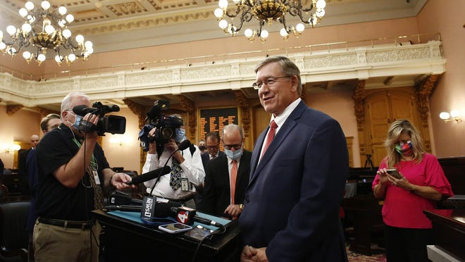 Bob Cupp, R-Lima, talks with the press after being elected Speaker of the House at the Ohio Statehouse on Thursday, July 30, 2020