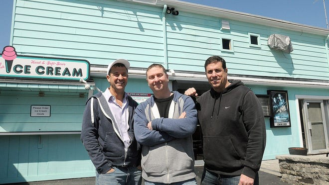 From left, Dave, Dan and Mike Andelman at the Mendon Drive-in. The Phantom Gourmet said in a statement posted on Facebook that Dave Andelman will relinquish ownership of the company he founded in 1993.