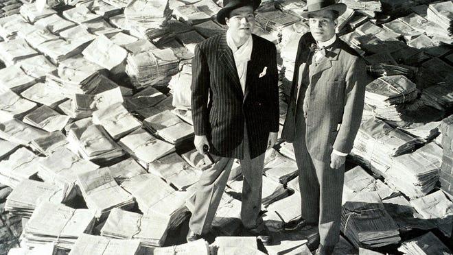 "Orson Welles as Kane and Joseph Cotton as Jedediah Leland in ""Citizen Kane."""