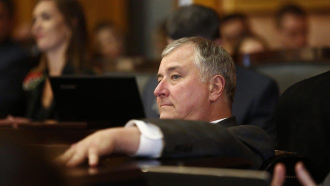 Former Ohio House Speaker Larry Householder, R-Glenford, was removed from the rostrum, but remains a member of the House.