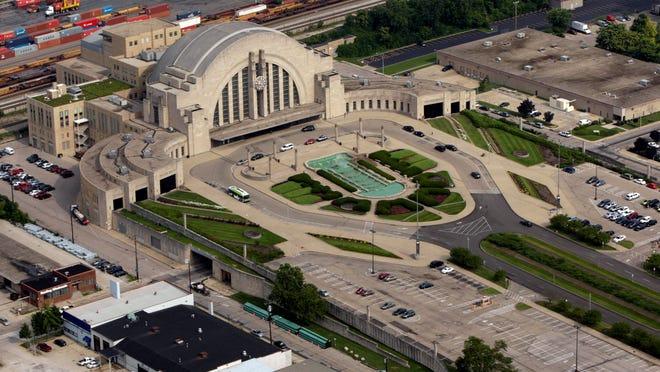 Aerial view of The Cincinnati Museum Center at Union Terminal.