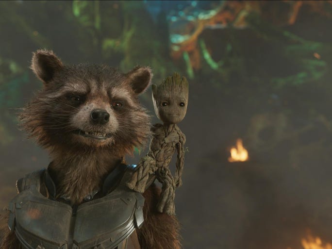 """Rocket (Voiced by Bradley Cooper) and Groot in """"Guardians"""