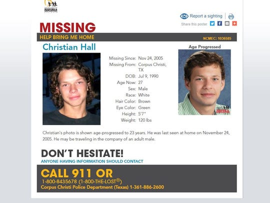 Christian Hall has been missing since November 2005.