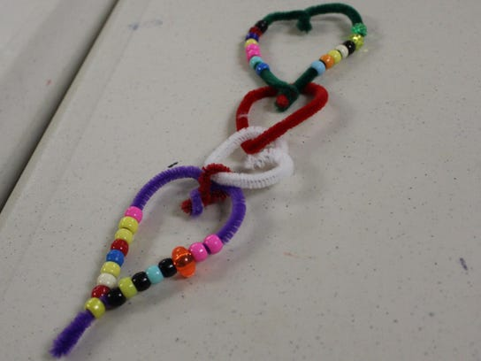 A hanging hearts craft was this month's Creative Craft's