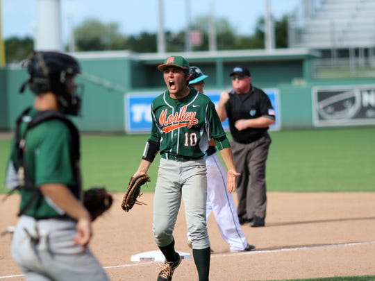 Jordan Murray celebrates an out in the fourth inning of Saturday's FHSAA Class 5A State Championship game between Mosley High School and Archbishop McCarthy High School at jetBlue Park in Fort Myers, Florida.