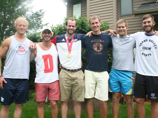 Lakeview grad Matt Herbers, center, and the U.S. rowing