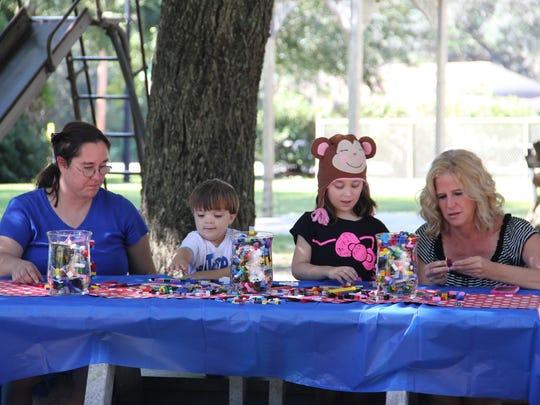 Kids and adults alike enjoyed making Lego creations.