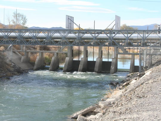 Water runs though the Fernley Check, a flow control device on the Truckee Canal in Fernley.