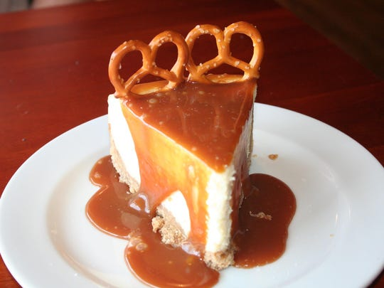 The sea salt, caramel cheesecake with pretzel crust at Canal Street Cafe in Augusta.
