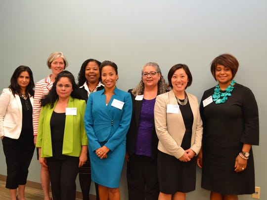 """Lubna Somjee, left t right, Molly Ahern, Karla Jerry, Deirdra """"Jen"""" Brown, Mecca Santana, Cindy Smith, Sara Lee and Lisa Ghartey participated in the Dutchess County Regional Chamber of Commerce's Women's Leadership Alliance's Concrete Ceiling event in Poughkeepsie that addressed barriers women of color contend with in their careers."""