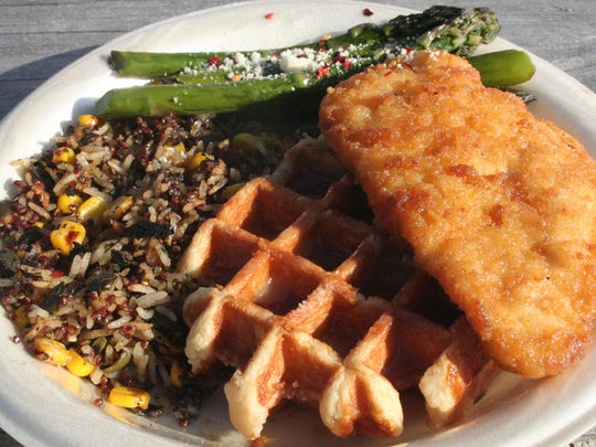 If you visit the Home Plate Club, the Kalamazoo Growlers offer such up-scale dishes as chicken and waffles with a side of rice pilaf and asparagus.