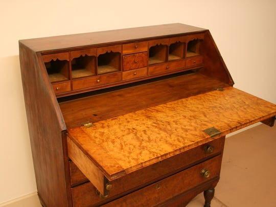 Stephen Foster Stevens' 1820 desk is the most complicated piece of his furniture in Rokeby Museum's collection. Here you can see the eye-catching figured maple and multitude of small drawers.