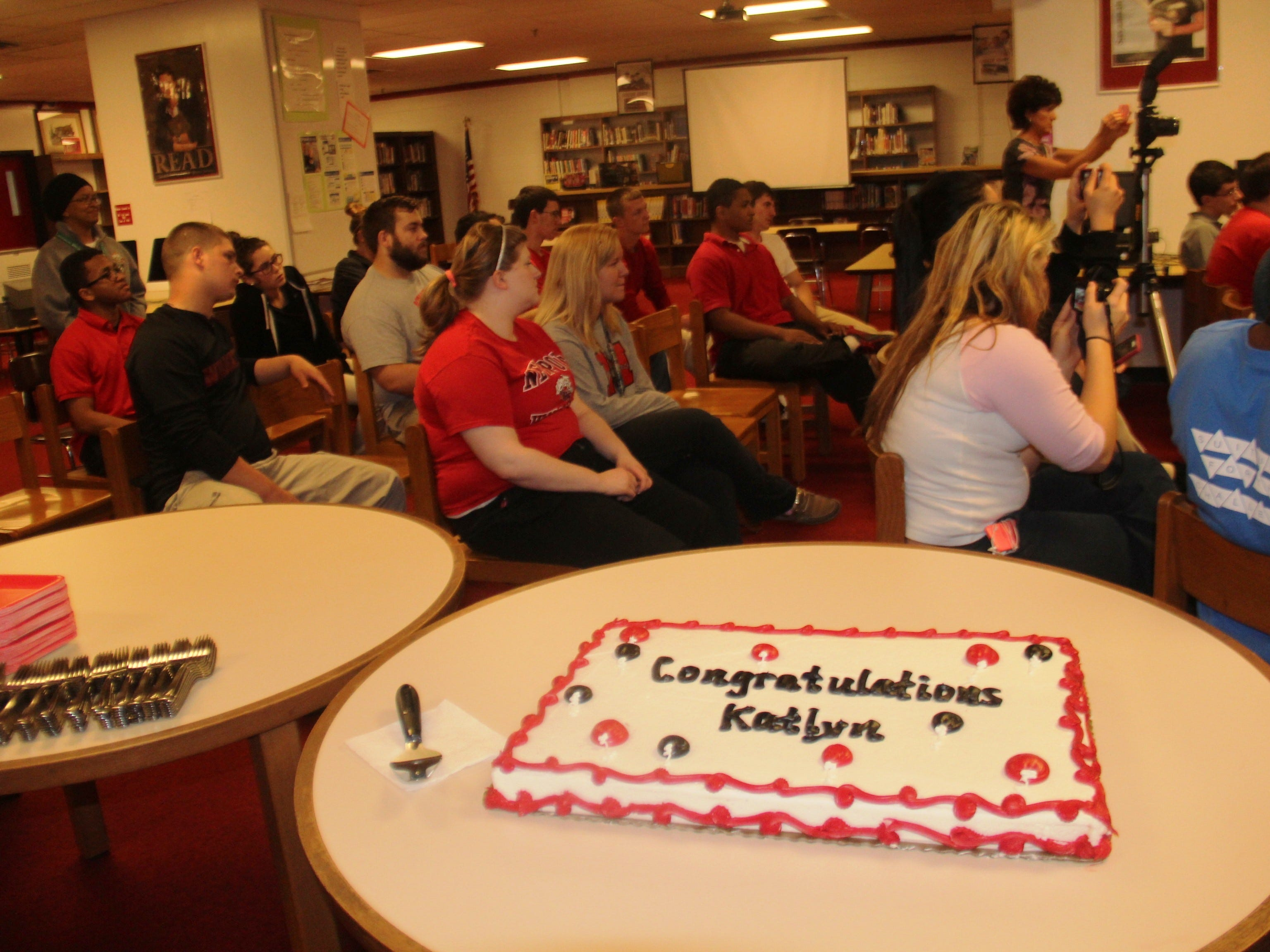 Supporters gather to honor Katlyn Hoeh for the signing. Newport bowler Katlyn Hoeh signed to play for Campbellsville April 16, 2015.