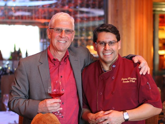 Gary Brookman, general manager of Miner Family Vineyards, left, and Christian O'Kuinghttons, cellar master of the Atlantis.