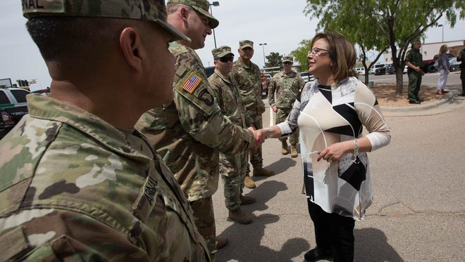 New Mexico Gov. Susana Martinez shakes hands with members of the New Mexico National Guard on April 26, 2018, at the Santa Teresa Border Patrol Station. Martinez was given a tour of the border patrol station and an update on what the National Guard Units would be doing while deployed on the border.