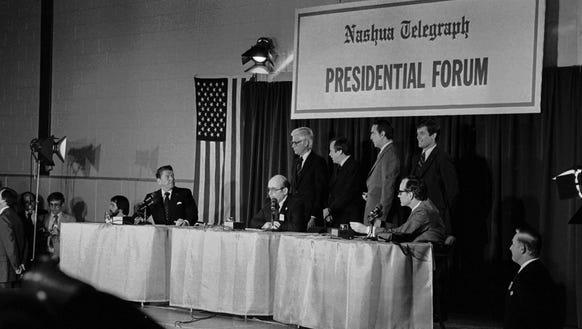 Ronald Reagan stares back at John Anderson, Howard