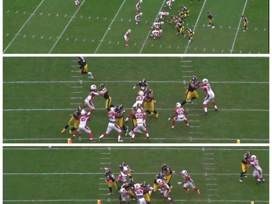 Cardinals-Steelers. Bell runs 22 yards.
