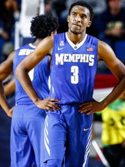 Dejected University of Memphis guard Jeremiah Martin during second half action against University of Alabama at the Veterans Classic in Annapolis, Md., Friday, November 10, 2017.