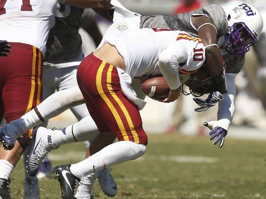 Associated Press TCU defensive tackle L.J. Collier (91), a Munday graduate, sacks Iowa State quarterback Jacob Park (10) Saturday.