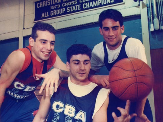 Frank DeBlasi (left) during his playing days at Christian Brothers Academy. Along with Greg Gaffney (center) and Geoff Billet (right), he led the Colts to the 1995 NJSIAA Parochial A championship.