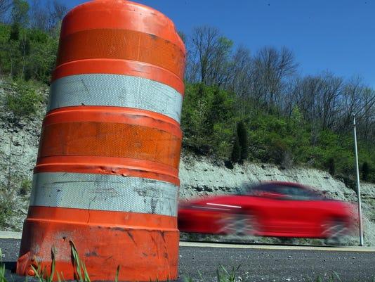 orange barrel file on interstate