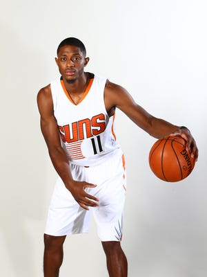 Phoenix Suns guard Brandon Knight poses for a portrait during media day at Talking Stick Resort Arena.