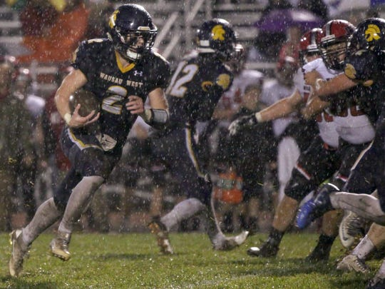 Wausau West's Mitch Michalske rushed for more than 200 yards and two touchdowns in West's 49-7 win Friday at Thom Field.