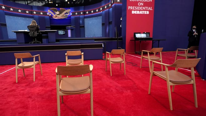 Chairs are seen in social distance spacing ahead of the first presidential debate between Republican candidate President Donald Trump and Democratic candidate former Vice President Joe Biden at the Health Education Campus of Case Western Reserve University, Tuesday, Sept. 29, 2020, in Cleveland.