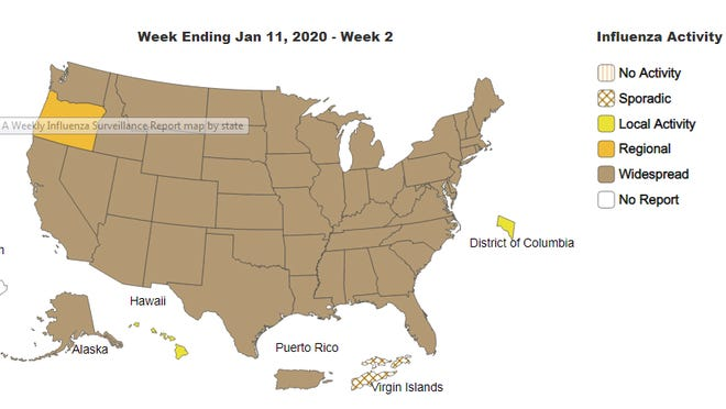 Flu activity was considered widespread in 48 states and Puerto Rico through Jan. 11, 2020. Source: Centers for Disease Control