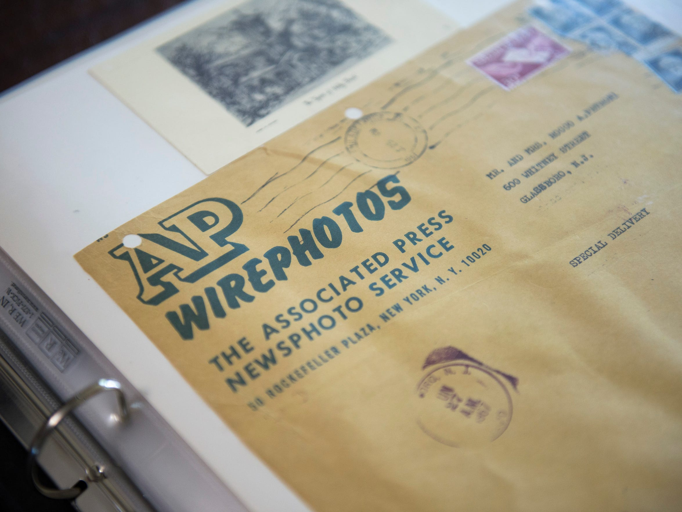 An envelope from the Associated Press that held pictures