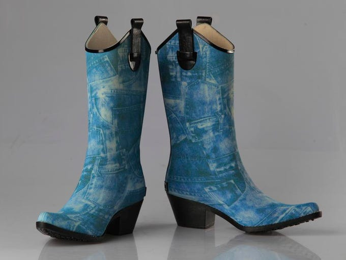 Corkey's rubber boot in blue denim has that Western flair. $39.95 at Pix Shoes, 201 S. Preston St.