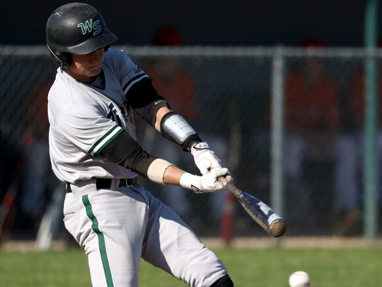 West Salem's Andy Armstrong (2) bats in the Sprague vs. West Salem baseball game at West Salem High School on Friday, May 6, 2016. Sprague won the game 4-2.