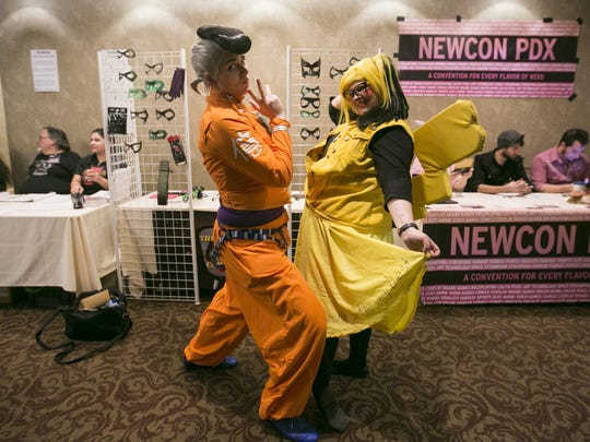 "Holder Galaxy, dressed as Okuyasu Nijimura from ""JoJo's Bizarre Adventure,"" and Sheri Budrow, dressed as Pikachu from ""Pokemon,"" strike a pose at MiyakoCon 2016. The event returns to the Red Lion Hotel 10 a.m. to midnight, Saturday, Feb. 25."