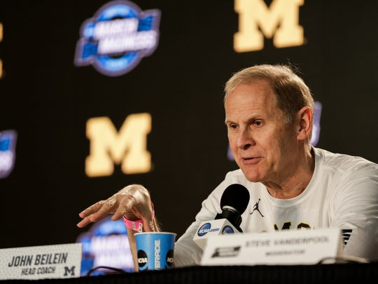 Michigan coach John Beilein answers a question during a press conference one day before the Elite Eight of the NCAA tournament against Florida State at Staples Center in Los Angeles, Friday, March 23, 2018.