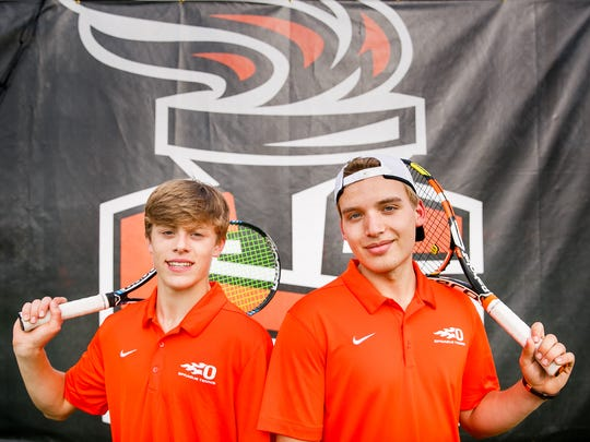 Sprague tennis players Judson Blair, left, and Sebastian Hammond, right, on Tuesday, May 1, 2018. Hammond is the defending GVC singles champion, and Blair won the GVC doubles championship last year with his older brother Logan.
