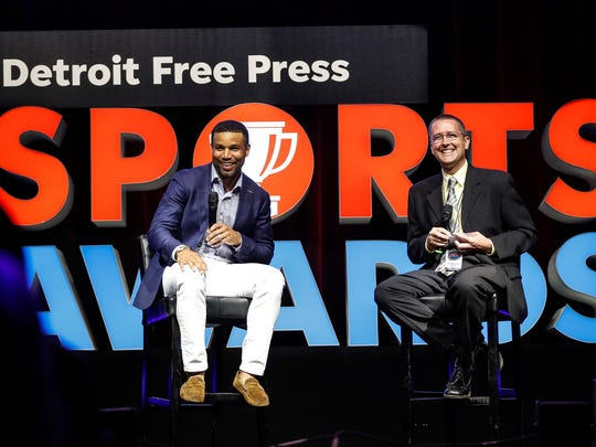 Detroit Lions receiver Golden Tate talks to Free Press Lions beat reporter Dave Birkett during the Detroit Free Press Sports Awards on May 18, 2018 at The Fillmore Detroit.