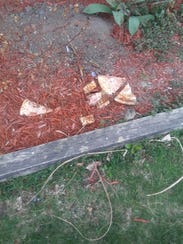 Pizza slices are strewn near Redford Twp. resident