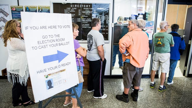 Voters turn out at the Delaware County Building election office Wednesday morning.