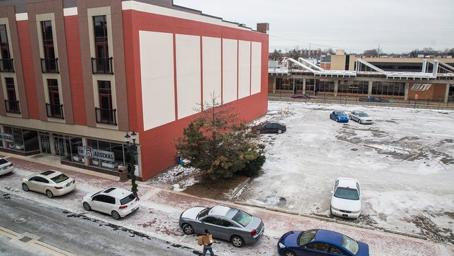 The former Sears building and planned future site of the South Walnut Street Apartments Friday afternoon.