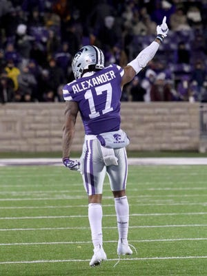 Kansas State defensive back Jonathan Alexander (17) celebrates after a Nov. 30 victory over Iowa State at Bill Snyder Family Stadium. Alexander, a senior, has decided to opt out of the 2020 season.