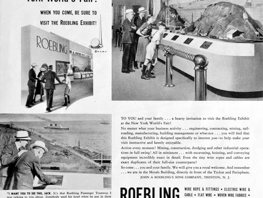 An advertisement for the Roebling exhibit at the 1939
