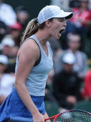 American Danielle Collins moves past fellow American Madison Keys in the 2nd round of the BNP Paribas Open on Saturday. Collins won in straight sets 6-3, 7-6.