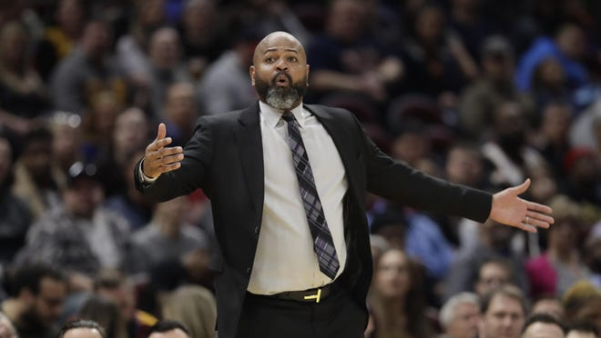 Cavaliers coach J.B. Bickerstaff reacts in the second half of a game  against the Miami Heat in February.